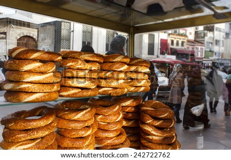 View from inside of the mobile cart with simits (Turkish sesame seed bagels) in Istanbul, Turkey - stock photo