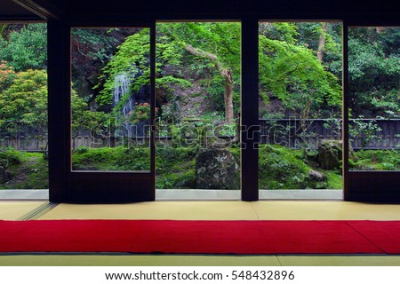 View from inside on a japanese garden in Kyoto