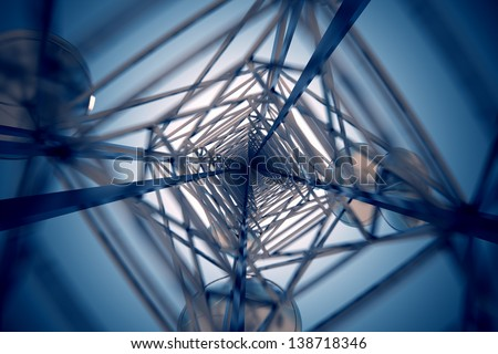 View from inside telecommunication tower with antennas. - stock photo