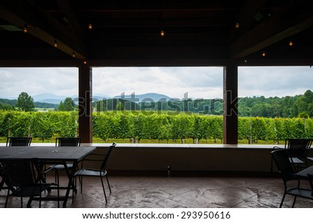 View from Inside Winery Pavillion in Blue Ridge Mountains  - stock photo