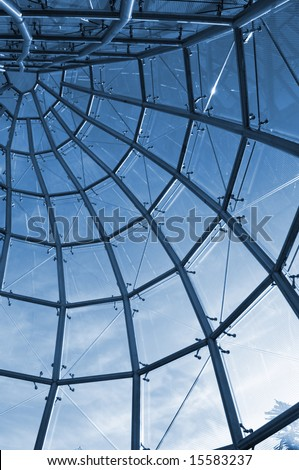 View from internal of glass construction with casinos (hotels) and blue sky as the background - stock photo