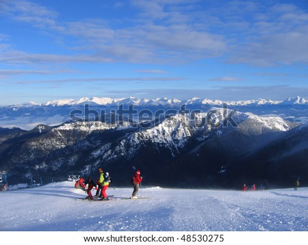view from Jasna ski resort, Chopok montain - stock photo