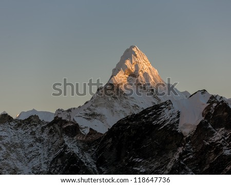 View from Kala Patthar (5600 m) to the Ama Dablam (6814 m) at sunset - Everest region, Nepal, Himalayas - stock photo