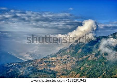 View from kalinchok Photeng towards the Kathmandu valley, Nepal - stock photo