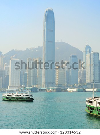 View from Kowloon to Hong Kong island - stock photo