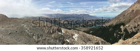 View from Laguna de los Tres in Argentina - stock photo