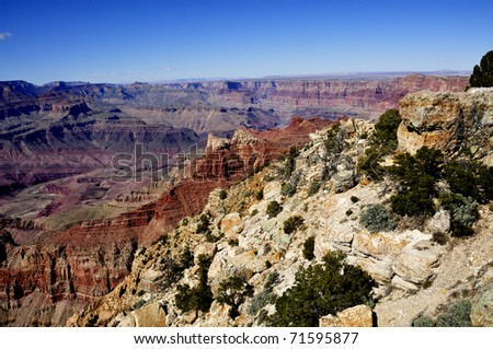 View from Lipan Point, South Rim of the Grand Canyon, Arizona, USA - stock photo