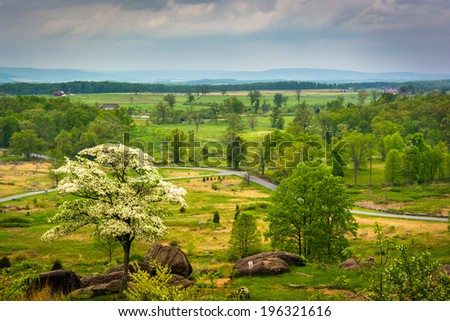 View from Little Round Top in Gettysburg, Pennsylvania. - stock photo