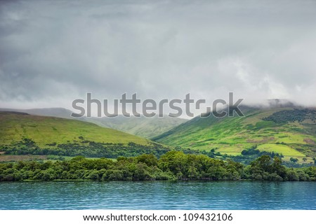 view from Loch Lomond on the hills, Scotland - stock photo