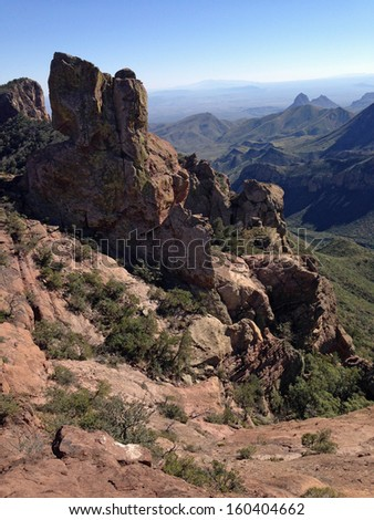 View from Lost Mine Trail in Big Bend National Park, Texas - stock photo