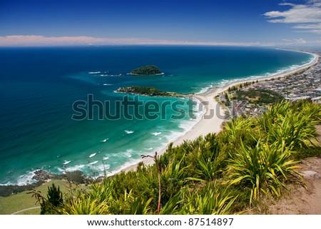 View from Manganui Mountain, Tauranga, New Zealand - stock photo