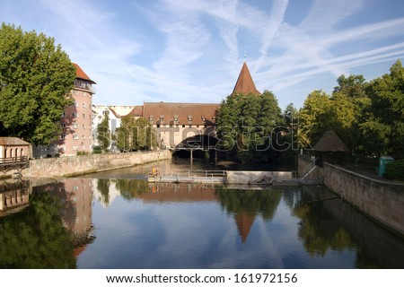 View from Maxbruecke zu Kettensteg over river Pegnitz in Nuremberg - stock photo