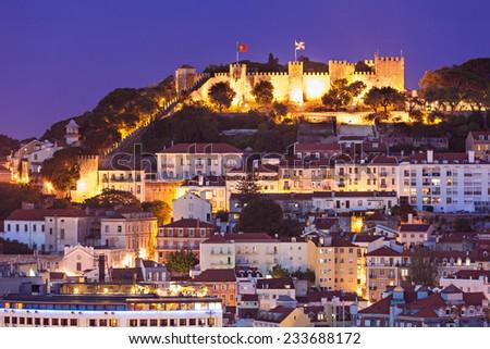 View from Miradouro Sao Pedro de Alcantara in Lisbon, Portugal - stock photo
