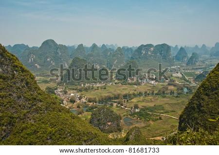 view from moon hill, near Yangshou (Guilin), China - stock photo