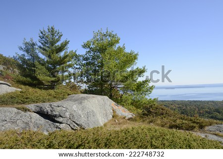 View from Mount Battie in Camden, Maine.  There are evergreen trees and large rocks with a view of the harbor in the background.  There is a bright blue sky over the autumn scene. - stock photo