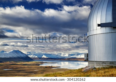 View from Mount John Observatory, Lake Tekapo, Mackenzie Country, New Zealand - stock photo