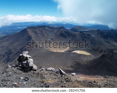 View from Mount Ngauruhoe to Mount Ruapehu and Tongariro Alpine Crossing - stock photo