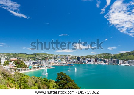 View from Mount Victoria into the bay of Wellington (capital city of New Zealand) - stock photo