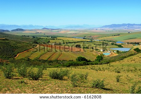 View from mountain at rural landscape with lakes. Shot in Kasteelberg Mountains nature reserve, near Riebeek, Western Cape, South Africa.