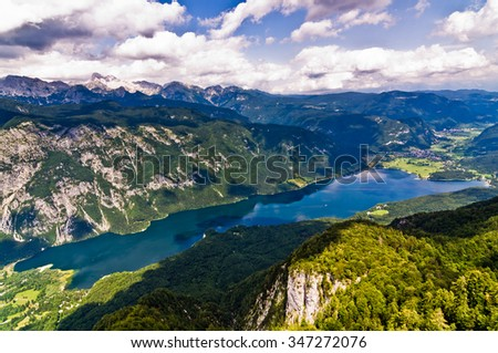 View from mountain Vogel to the lake Bohinj and its surrounding environment, Slovenian alps, Slovenia