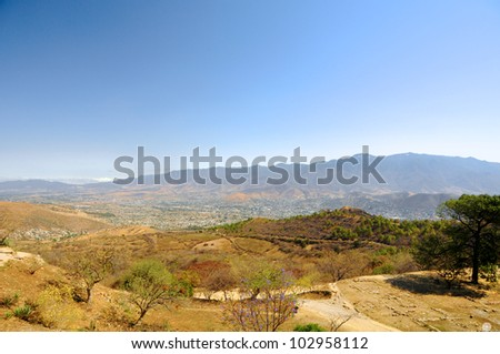 View from of Monte Alban - Oaxaca, Mexico - stock photo