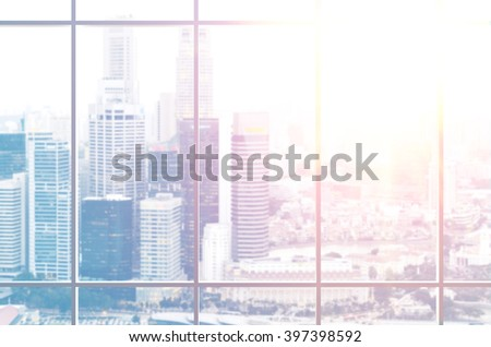 view from office window on modern city - stock photo