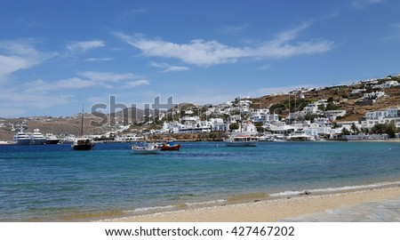 View from old port of Mykonos island, Greece - stock photo