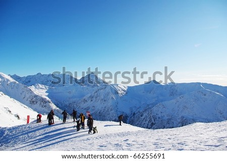 View from one of the highest Polish mountain peaks Kasprowy Wierch in sunny winter - stock photo