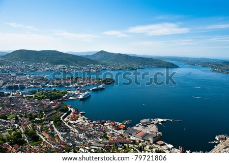 View from one of the surrounding mountains in the Norwegian city Bergen - stock photo