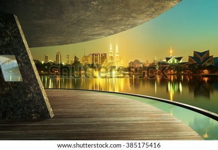 View from open space balcony,Kuala Lumpur city night night scene. - stock photo
