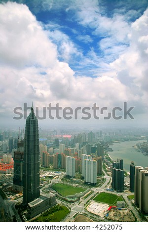 view from Oriental Pearl Tower on new buildings in Pudong area, Shanghai, China - stock photo