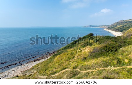 View from Osmington Mills of the coast of Dorset England UK in the direction of Weymouth - stock photo