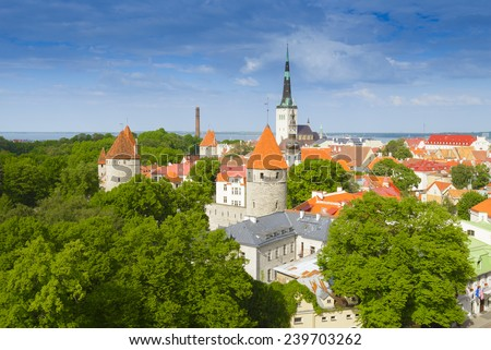 View from Patkuli viewing platform, Tallinn, Estonia - stock photo