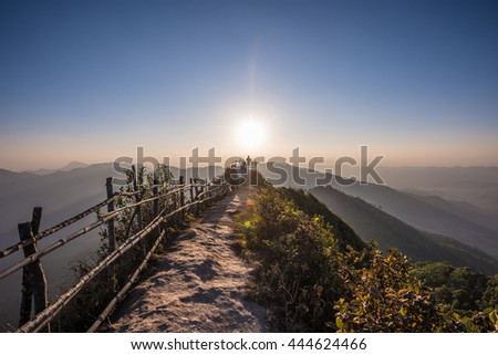 View from peak of the phu chee dao mountain thailand
