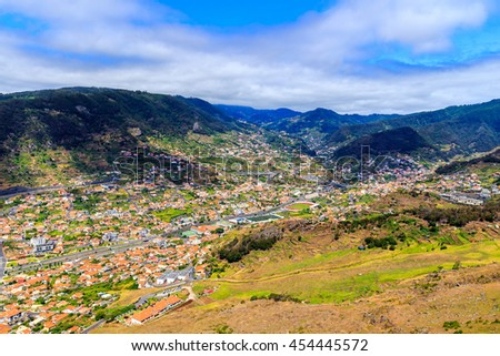View from Pico do Facho viewpoint over the Machico valley, Madeira, Portugal