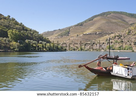 View from  Pinhão vilage in Portugal to Douro valey - stock photo