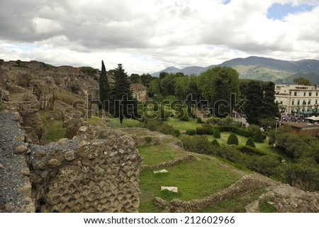 View from Pompeii - stock photo