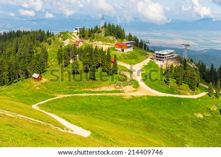 View from Postavarul Massif, Poiana Brasov, Romania  - stock photo