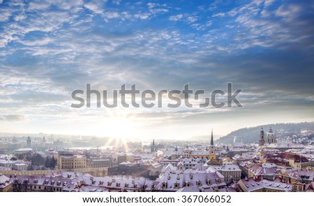 View from Prague Castle during winter time in Czech Republic