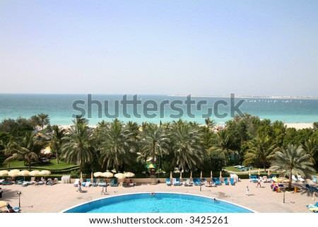 View from resort along coast in Dubai - stock photo