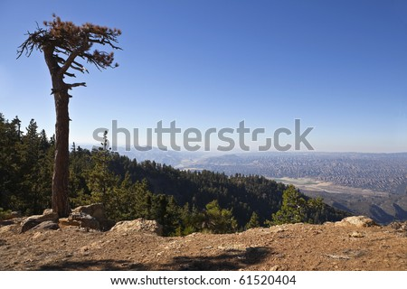 View from Reyes Peak towards the Lockwood Valley desert in Ventura County's Los Padres National Forest. - stock photo