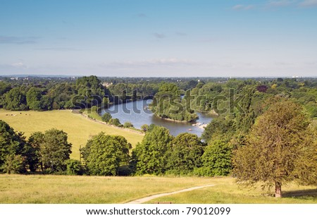 view from richmond hill overlooking the thames - stock photo