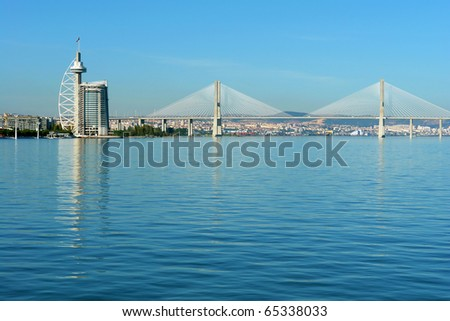 "View from river Tagus of Lisbon's Nations park and ""Vasco da Gama"" Bridge, Portugal"