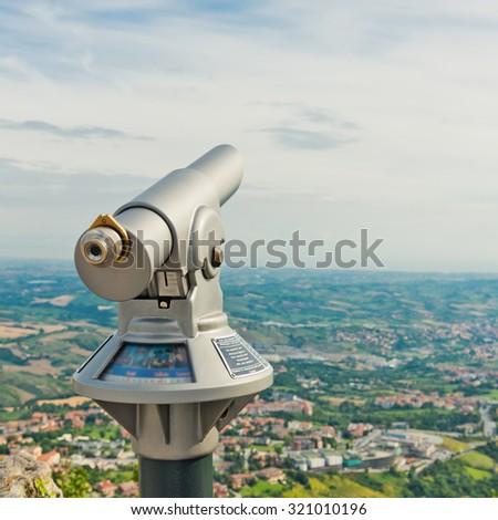 View from San Marino fortress - Adriatic Coast, Italy  - stock photo