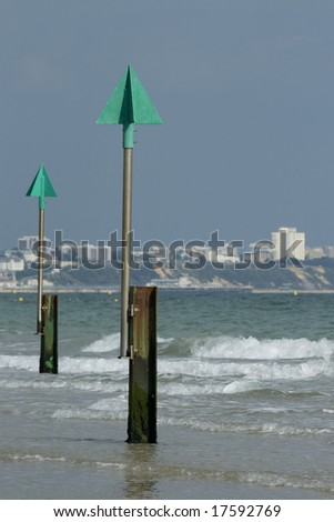 View from Sandbanks to Bournemouth with groyne markers
