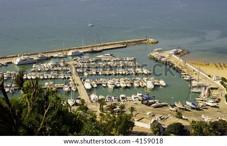 View from Sidi Bou Said to the Marina Harbour, Tunisia - stock photo