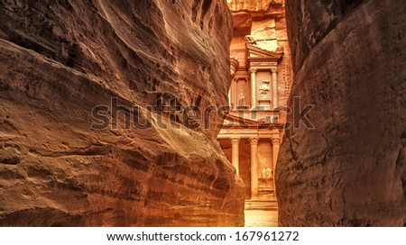 View from Siq on entrance of City of Petra, Jordan - stock photo