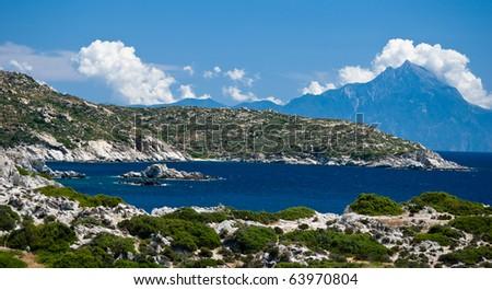 View from Sithonia peninsula to Mount Athos - stock photo