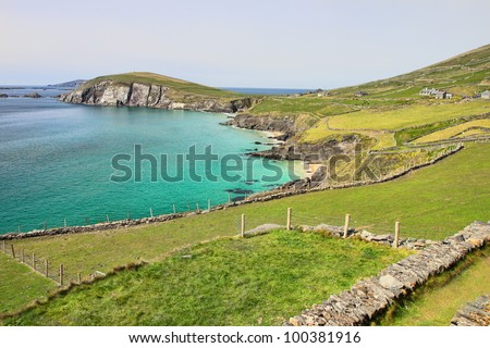 View from Slea Head in the background the Blasket islands in Ireland. - stock photo