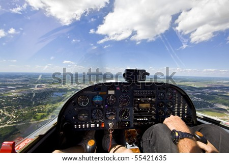 View from small aircraft taking off from runway - stock photo